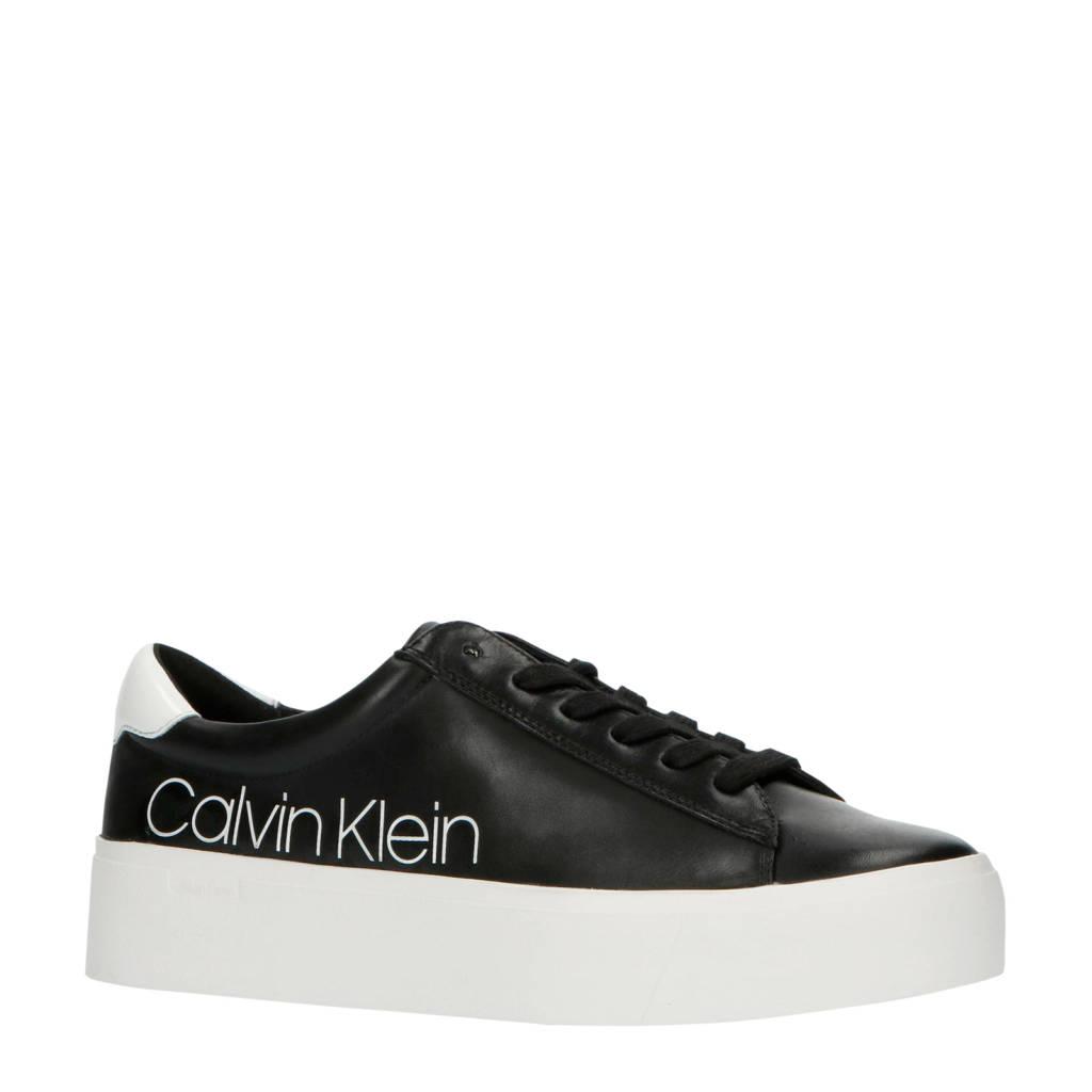 CALVIN KLEIN Janika  leren plateau sneakers zwart, Zwart/wit