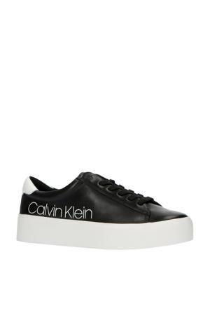 Janika  leren plateau sneakers zwart