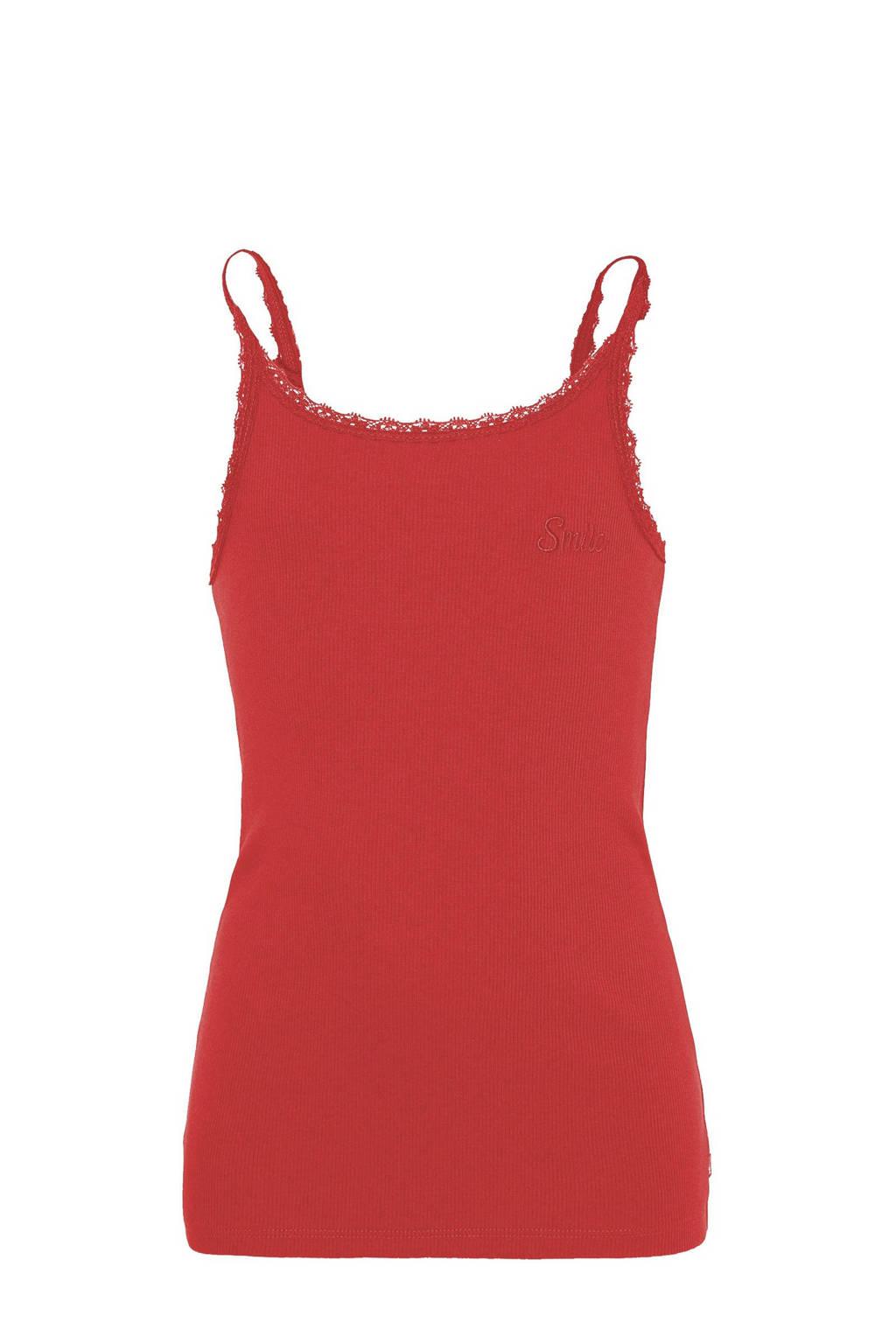 WE Fashion singlet met borduursels rood, Rood