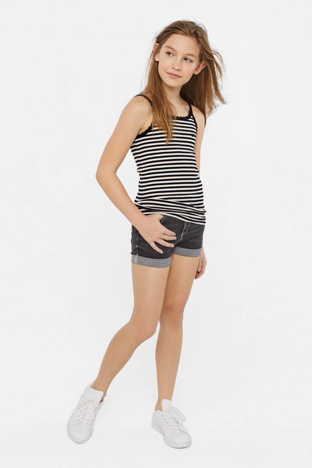 WE Fashion gestreepte ribgebreide top zwart/wit, Zwart/wit