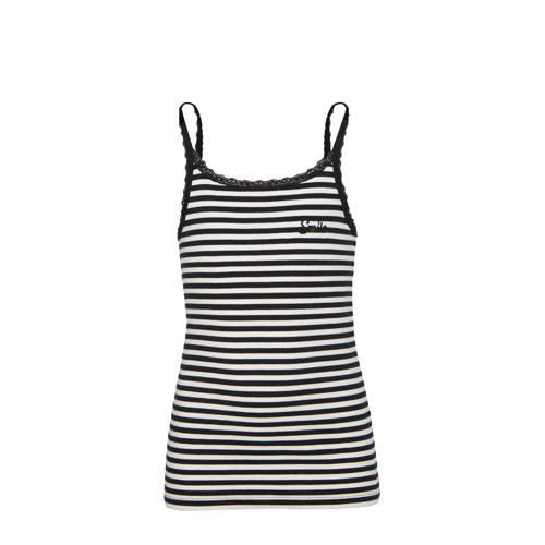 WE Fashion gestreepte ribgebreide top zwart/wit