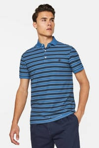WE Fashion gestreepte regular fit polo blauw/zwart, Blauw/zwart