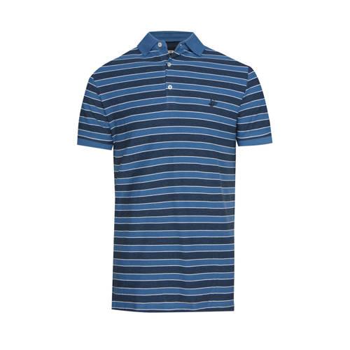 WE Fashion gestreepte regular fit polo blauw/zwart