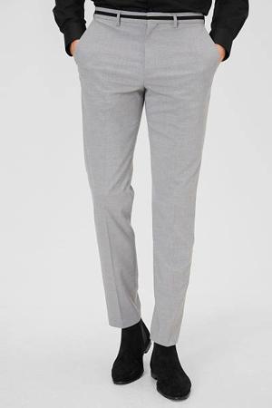 slim fit pantalon lichtgrijs