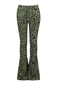 CoolCat Junior flared broek met panterprint army groen/zwart, Army groen/zwart