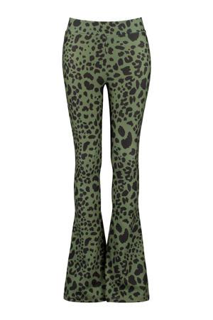 flared broek met panterprint army groen/zwart