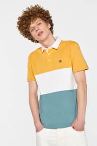 WE Fashion Blue Ridge regular fit polo geel/wit/blauw, Geel/wit/blauw