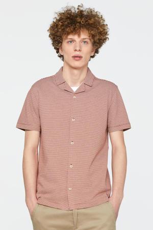 gestreept slim fit overhemd koraalrood/wit