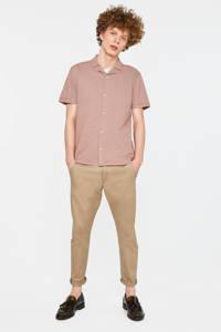 WE Fashion gestreept slim fit overhemd koraalrood/wit, Koraalrood/wit