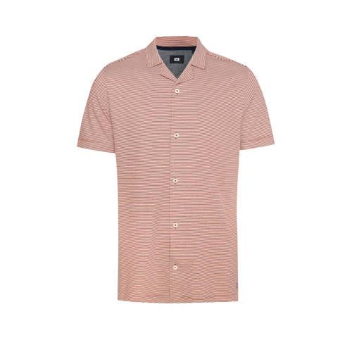 WE Fashion gestreept slim fit overhemd koraalrood/