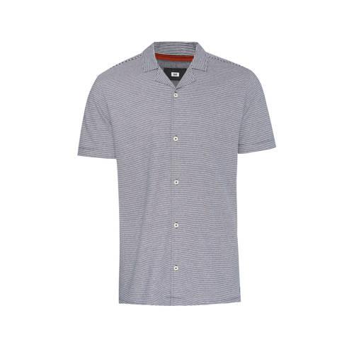 WE Fashion gestreept slim fit overhemd donkerblauw