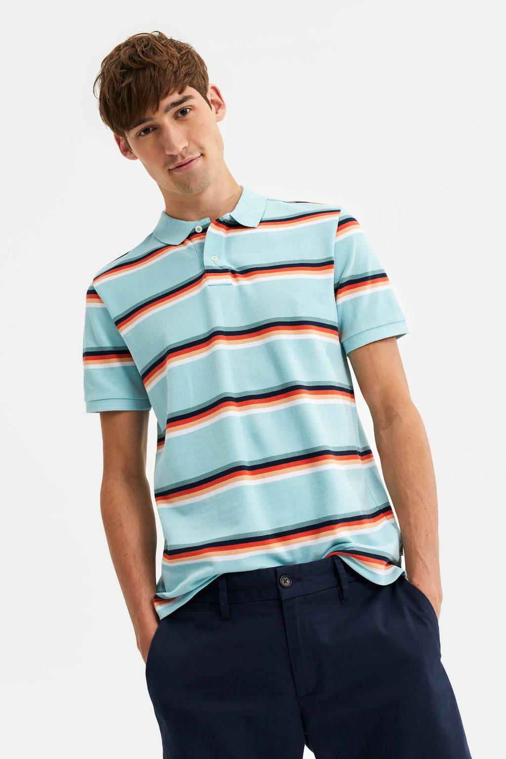 WE Fashion Blue Ridge gestreepte slim fit polo aquatic, Aquatic