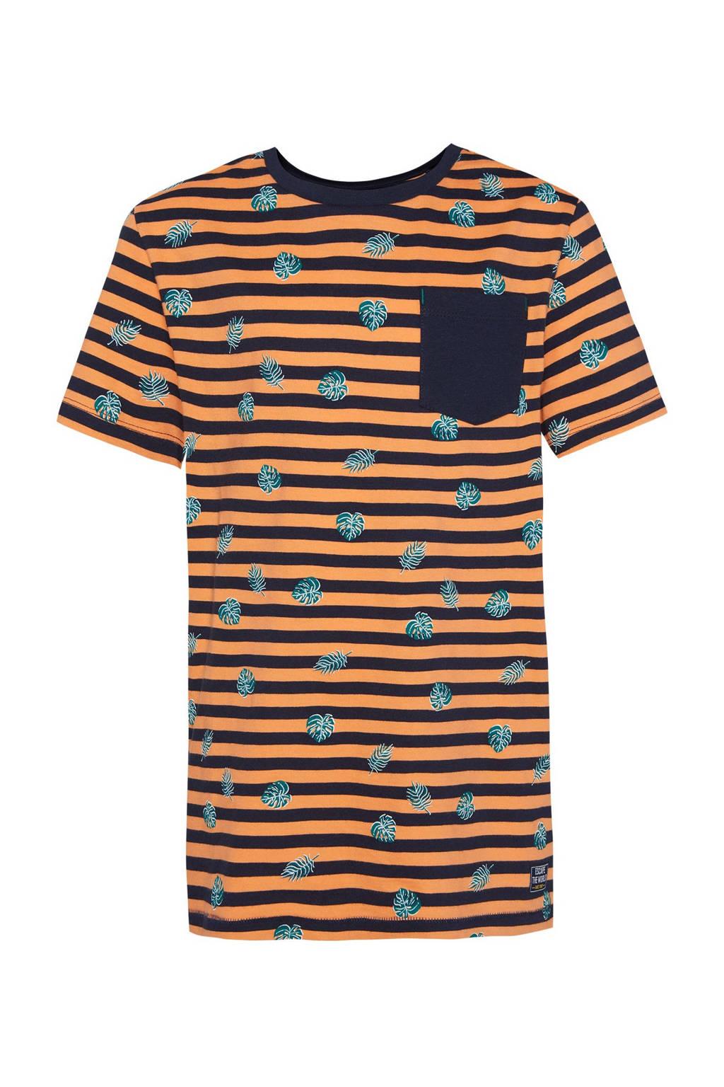 WE Fashion gestreept regular fit T-shirt oranje/donkerblauw/groen, Oranje/donkerblauw/groen
