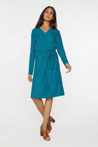 WE Fashion jurk met all over print en ceintuur blauw, Blauw