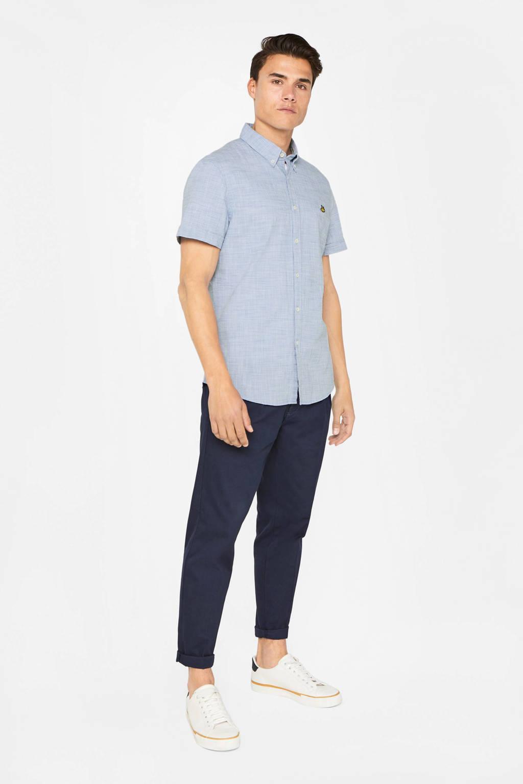 WE Fashion gemêleerd regular fit overhemd lichtblauw, Lichtblauw