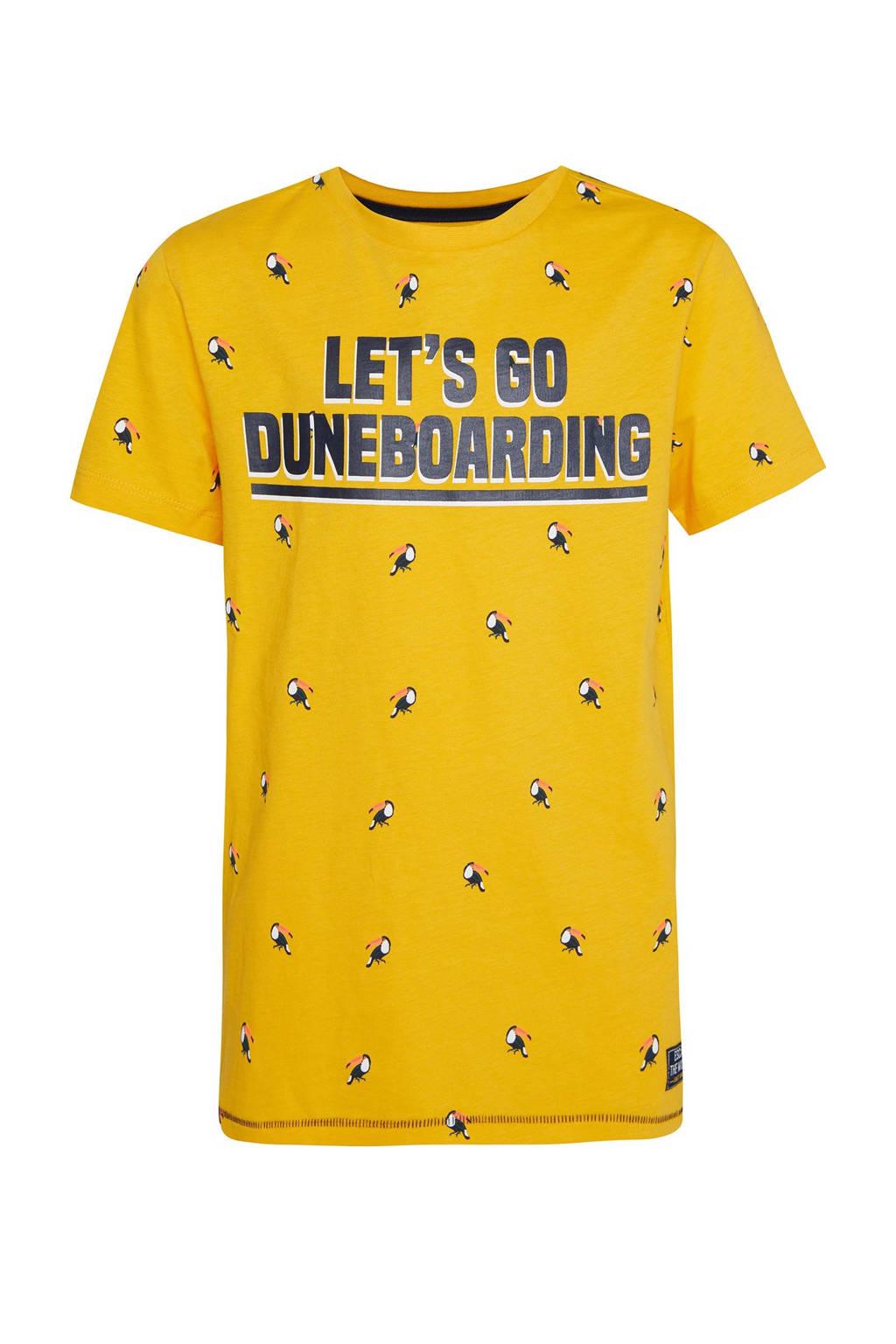 WE Fashion regular fit T-shirt met tekst geel/donkerblauw, Geel/donkerblauw
