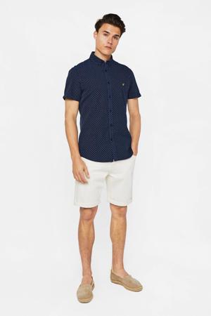 slim fit overhemd donkerblauw/wit