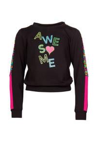 Papillon sportsweater zwart/multi, Zwart/multi