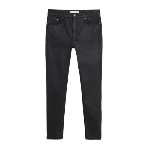 Mango coated cropped skinny jeans zwart