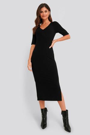 fijngebreide jersey jurk zwart
