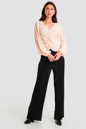 loose fit broek met textuur zwart