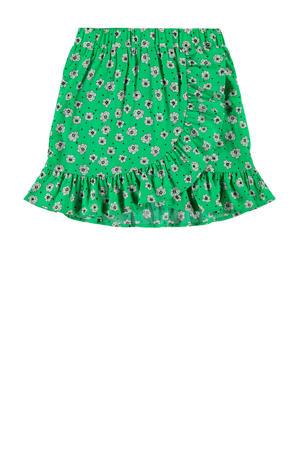 gebloemde rok Darla groen/wit/zwart