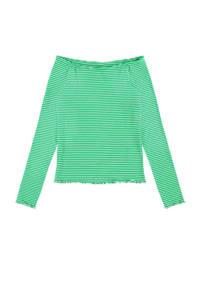LMTD gestreepte off shoulder top Josseday groen/wit, Groen/wit