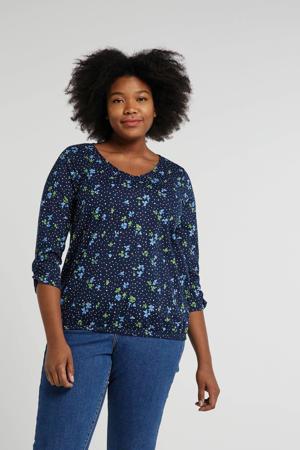 gebloemd T-shirt donkerblauw/multi