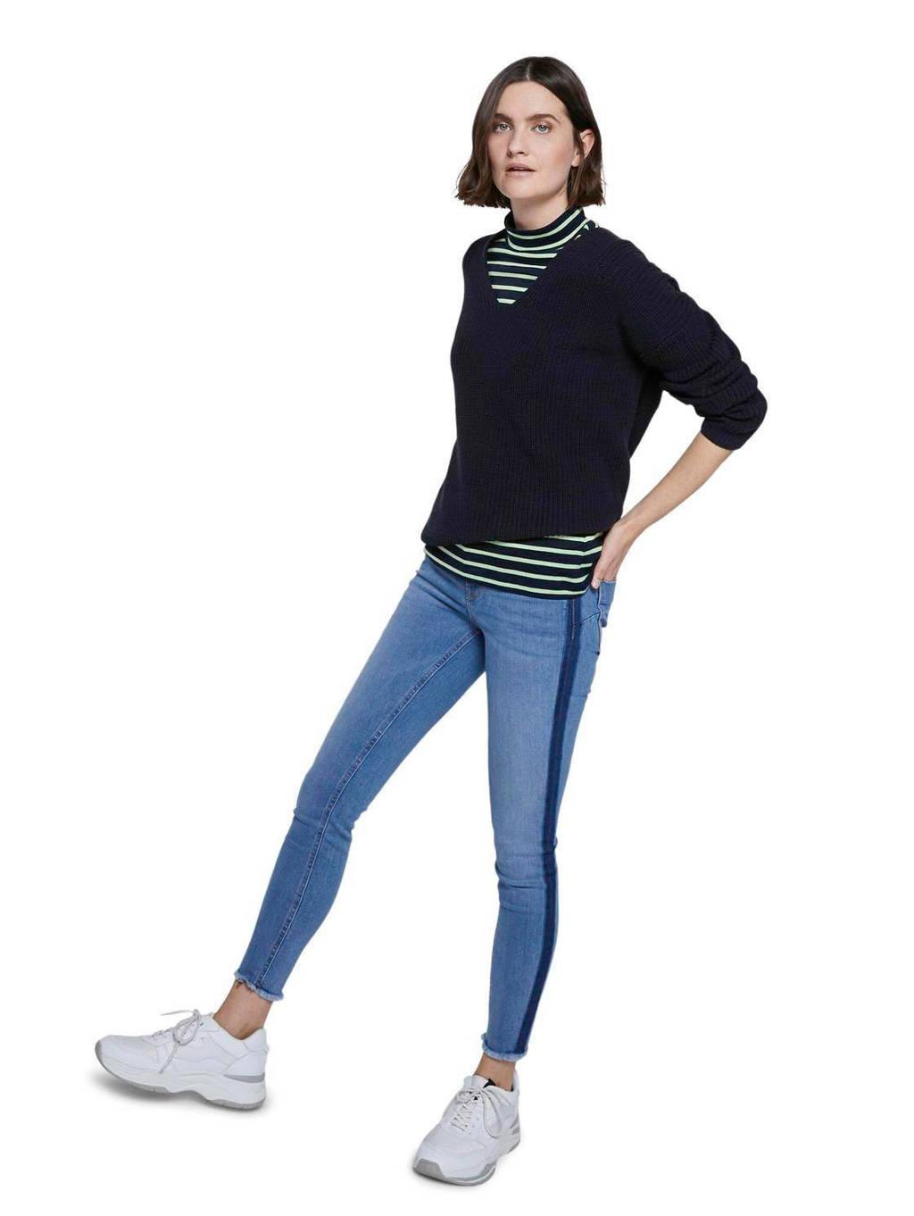 Tom Tailor gestreept T-shirt T-shirt stripe turtle neck blauw/groen, Blauw/groen
