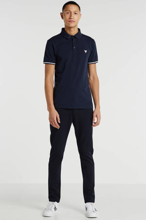 super slim fit polo met logo marine/wit