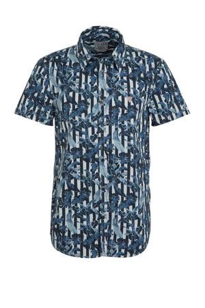 regular fit overhemd met bladprint blauw
