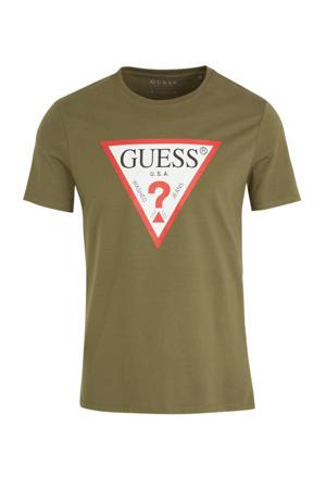 T-shirt met printopdruk kaki/wit/rood