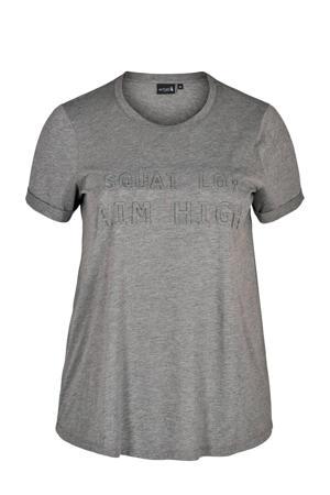Plus Size sport T-shirt grijs melange