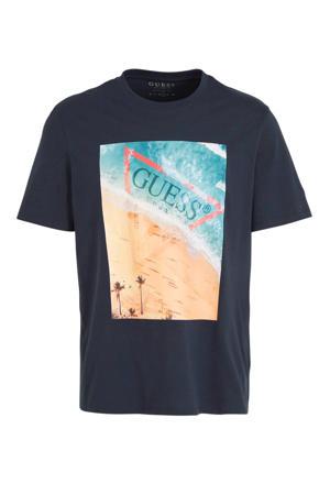 T-shirt met printopdruk donkerblauw/blauw/rood