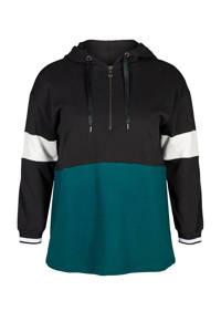 ACTIVE By Zizzi sportsweater zwart/wit/groen, Zwart/wit/groen