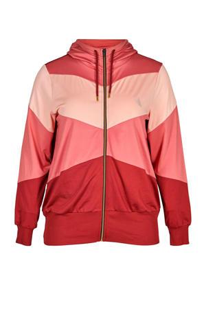 Plus Size sportvest rood/roze