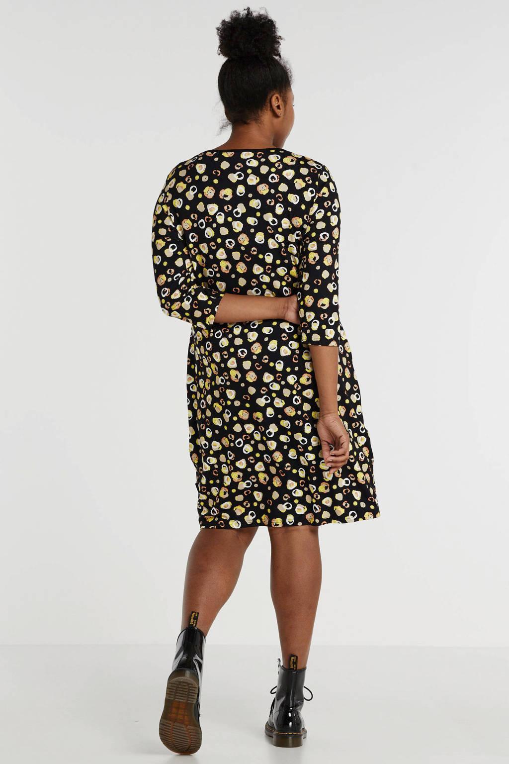 PONT NEUF jersey jurk met all over print zwart/geel, Zwart/geel