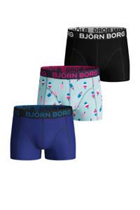 Björn Borg   boxershorts - set van 3, Zwart/lichtblauw/blauw