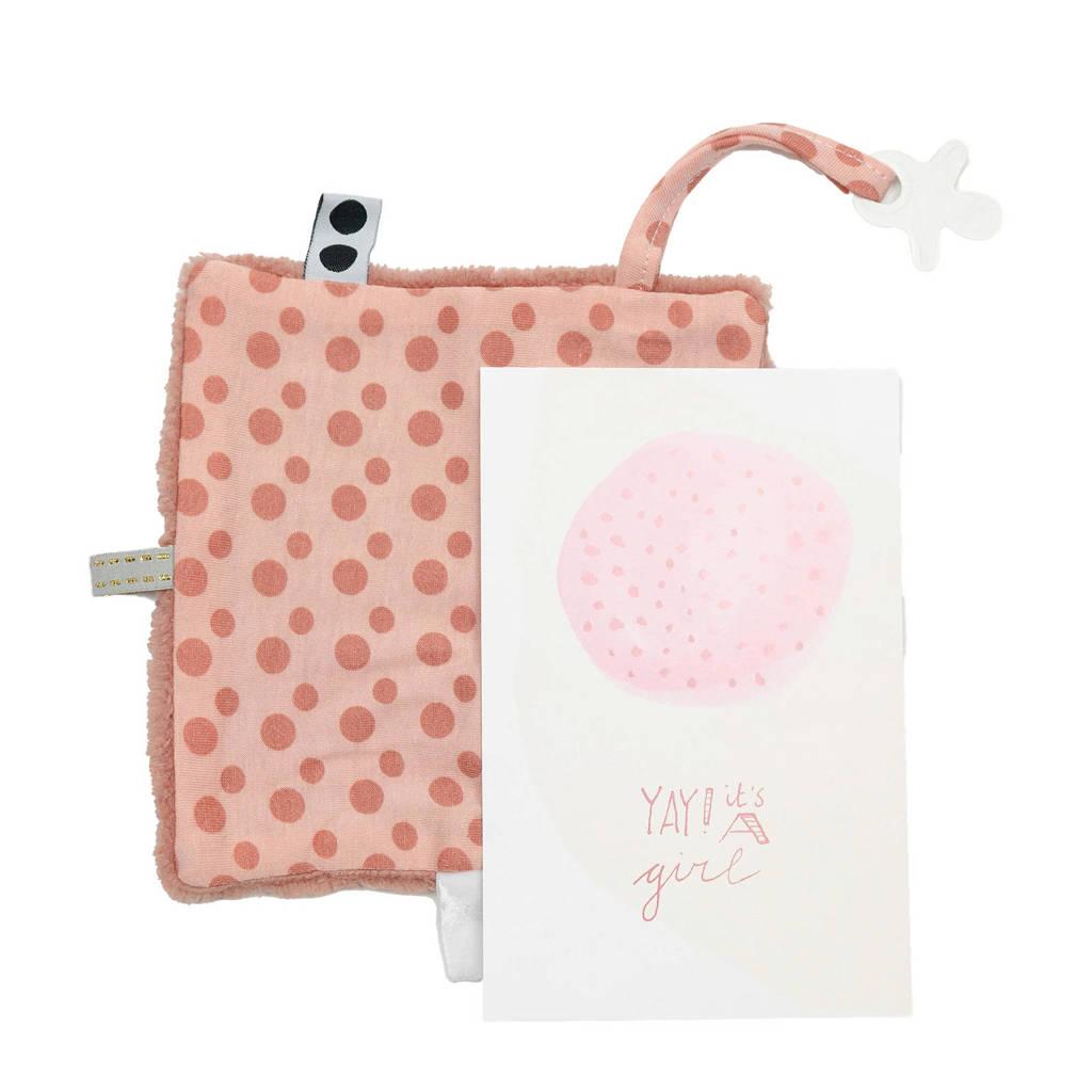 Snoozebaby geboortekaartje met knuffeldoekje in een envelop dusty rose knuffeldoekje, Dusty Rose