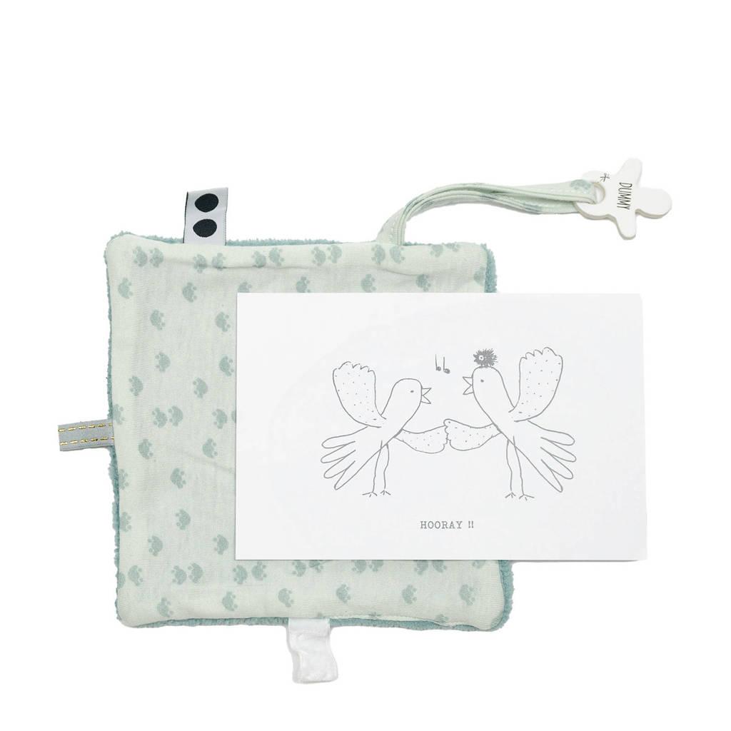 Snoozebaby geboortekaartje met knuffeldoekje in een envelop lichtroze knuffeldoekje, Gray Mist