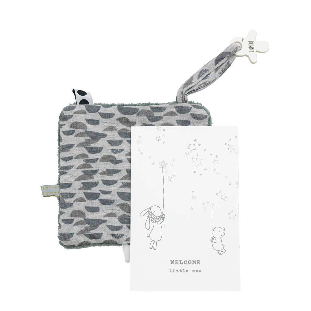 Snoozebaby geboortekaartje met knuffeldoekje in een envelop frost grey knuffeldoekje, Frost grey