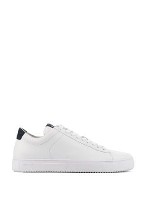 nubuck sneakers wit/donkerblauw