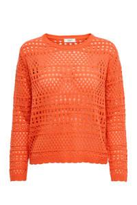 JACQUELINE DE YONG trui met opengewerkte details oranje, Oranje