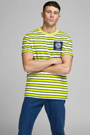 gestreept T-shirt geel/wit//blauw/zwart