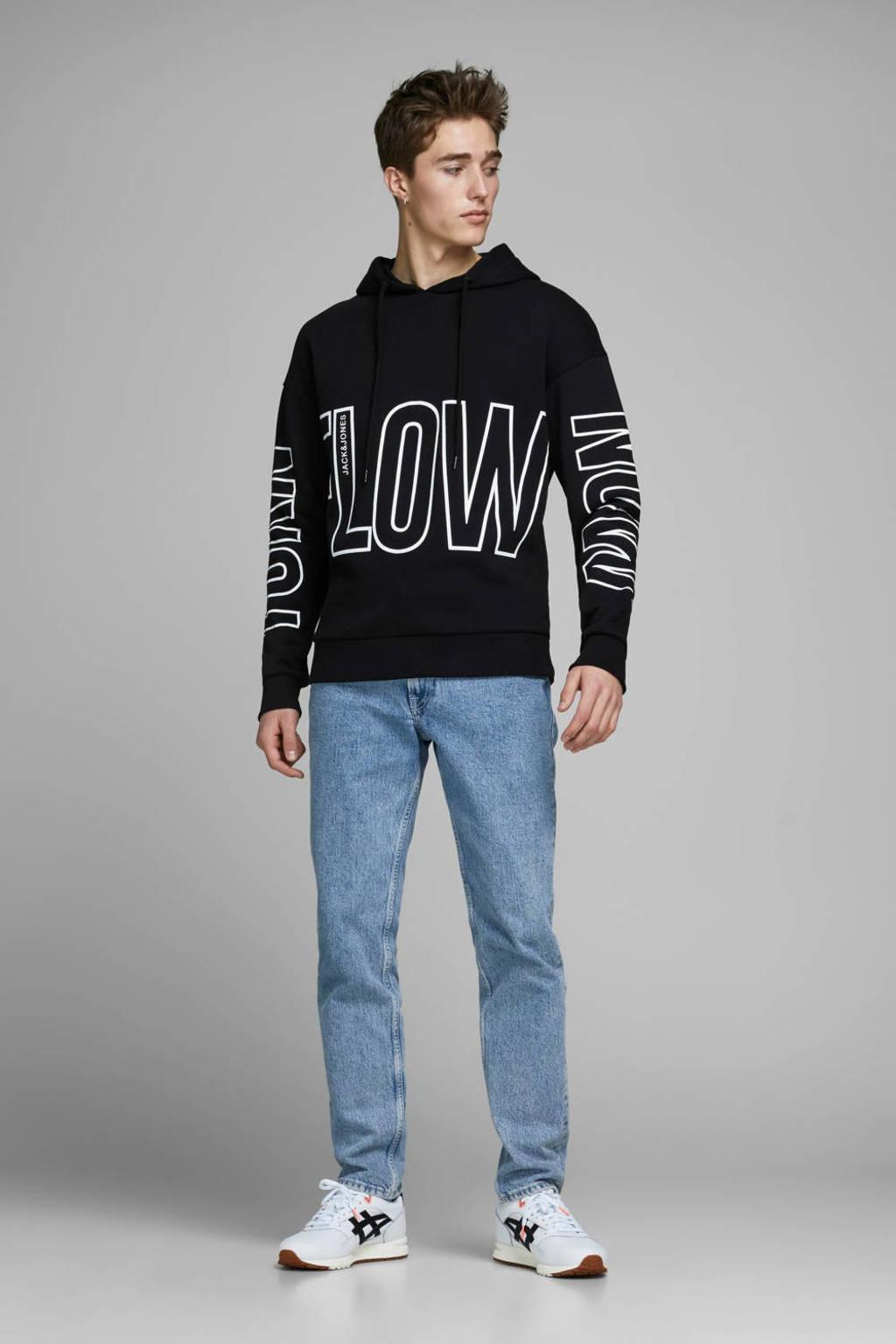 JACK & JONES CORE hoodie met tekst zwart/wit, Zwart/wit