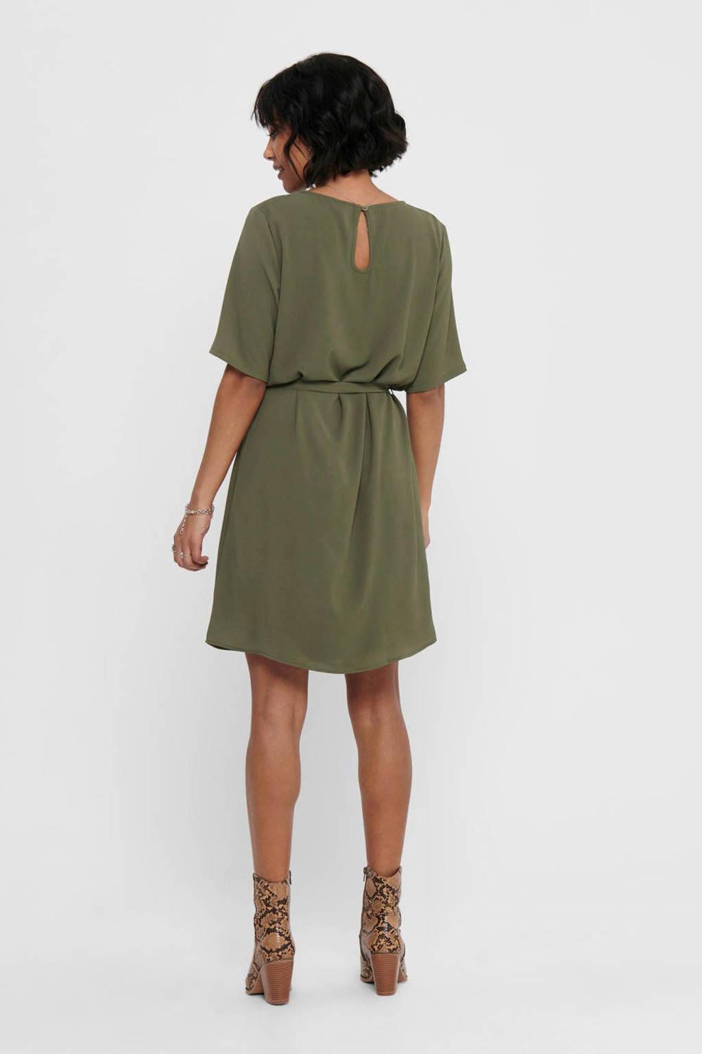 JACQUELINE DE YONG jurk met ceintuur olijfgroen, Olijfgroen