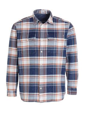 geruit regular fit overhemd medium blue denim