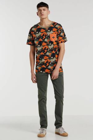 T-shirt met all over print oranje/donkergroen/zwart/beige