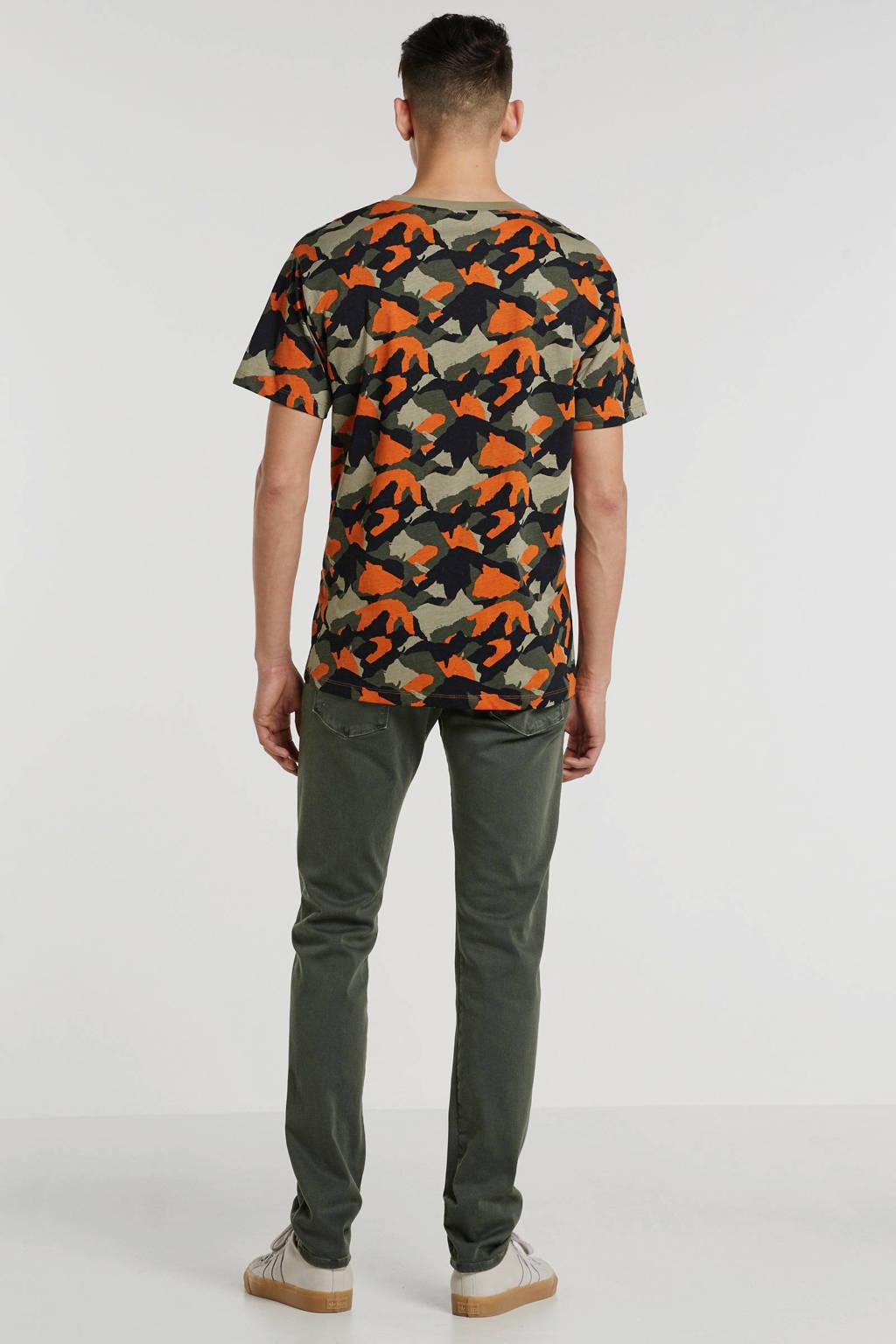 PRODUKT T-shirt met all over print oranje/donkergroen/zwart/beige, Oranje/donkergroen/zwart/beige