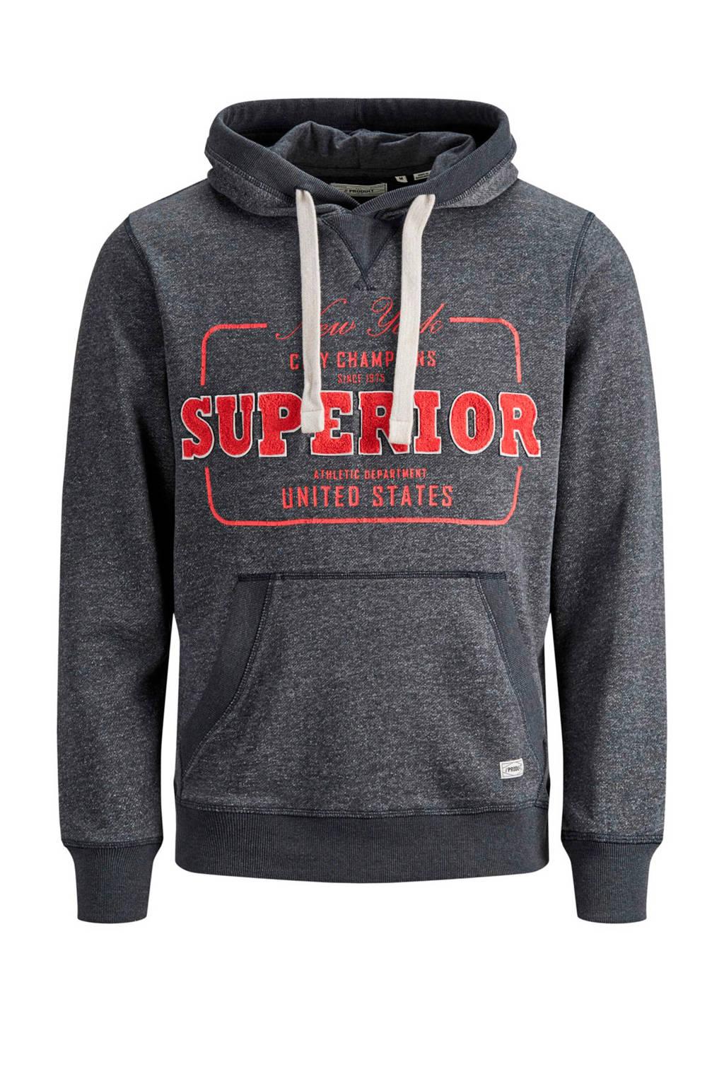 PRODUKT hoodie met printopdruk donkergrijs, Donkergrijs